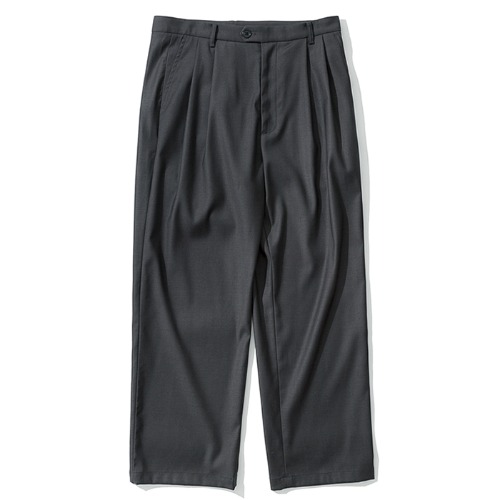 two tuck wide slacks grey