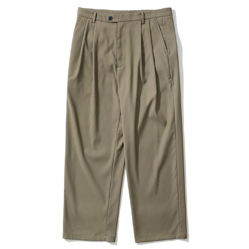 two tuck wide slacks beige
