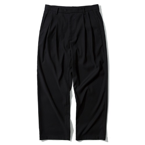 two tuck wide slacks black